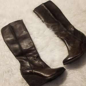 Frye Cece Leather Wedge Boots